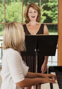Voice teacher and student