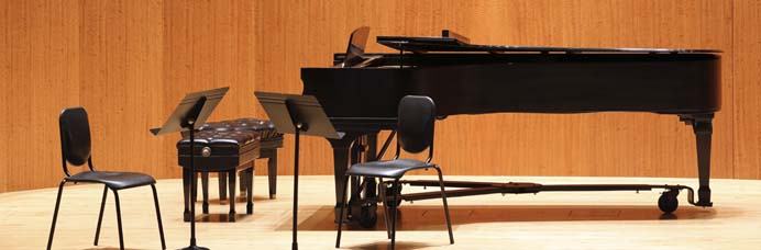 piano and chairs on stage